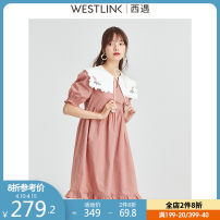 Dress Spring 2021 Pink S M L XL Short skirt singleton  Short sleeve commute V-neck Solid color Socket Ruffle Skirt puff sleeve 25-29 years old Type H Westlink / Xiyu lady Lace More than 95% cotton Cotton 100% Same model in shopping mall (sold online and offline)