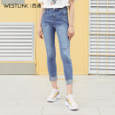Jeans Autumn of 2019 blue 26 27 28 29 trousers Natural waist Pencil pants routine 18-24 years old other Dark color Westlink / Xiyu 96% and above Cotton 98.2% polyurethane elastic fiber (spandex) 1.8% Same model in shopping mall (sold online and offline)