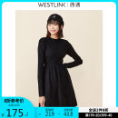 Dress Winter 2020 black S M L XL Mid length dress singleton  Long sleeves commute Crew neck Solid color Socket A-line skirt routine 25-29 years old Type A Westlink / Xiyu lady 31% (inclusive) - 50% (inclusive) nylon Viscose (viscose) 40% polyamide (nylon) 38% polyester 22%