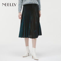 skirt Polyester 100% Same model in shopping malls (both online and offline) polyester fiber More than 95% High waist Winter of 2019 Pleated skirt longuette commute Neely / Na Li Solid color 25-29 years old N061810AE046-1 fold S M L Emerald