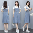 Dress Summer 2021 Denim skirt white T-shirt + denim skirt M L XL 2XL longuette singleton  Short sleeve commute Crew neck High waist Solid color Socket A-line skirt routine straps 25-29 years old Type A Unfold sleeves Korean version Button ZX20213292207 More than 95% Denim other Other 100%