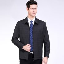 Jacket Oana  Youth fashion dark grey 46-165/84A,48-170/88A,50-175/92A,52-180/96A,54-185/100A,56-190/104A,58-195/108A thin Syncytial type Other leisure Spring and Autumn Long sleeves Wear out Lapel routine Regular sleeve lattice Jiming line Bag digging with open cut thread