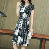 Dress Summer 2021 Black and white L XL 2XL 3XL Mid length dress singleton  Short sleeve commute V-neck High waist lattice Socket A-line skirt other 25-29 years old Lucia Korean version 2021-4.1-25 More than 95% other silk Mulberry silk 100% Pure e-commerce (online only)