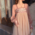 Dress Autumn 2020 Charming powder, pay attention to the store and give priority to delivery XS,S,M,L,XL Mid length dress singleton  Long sleeves commute square neck High waist Socket Princess Dress bishop sleeve 18-24 years old Type A Retro