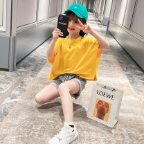 suit Yueshu yellow 110cm,120cm,130cm,140cm,150cm,160cm female summer Hip hop Short sleeve + pants 2 pieces routine There are models in the real shooting Socket nothing Cartoon animation cotton children Giving presents at school Class B Other 100% Chinese Mainland