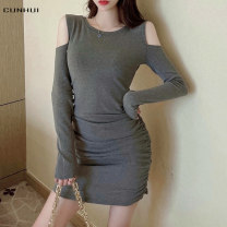 Dress Spring 2021 Grey black Average size Mid length dress singleton  Long sleeves commute Crew neck High waist Solid color Socket One pace skirt routine Others 25-29 years old Cunhui Korean version hole 2021SCCH718 More than 95% knitting cotton Cotton 97% polyurethane elastic fiber (spandex) 3%