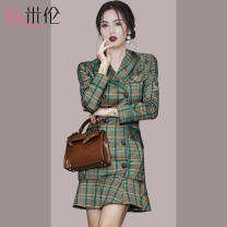 Women's large Autumn 2020 Green grey S M L XL Dress singleton  commute Self cultivation moderate Long sleeves Solid color Korean version Half open collar polyester fiber Three dimensional cutting routine 9272Q Han Milun 25-29 years old Button Short skirt Polyester 100% Exclusive payment of tmall