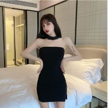 Dress Spring 2021 black S,M,L Short skirt singleton  Sleeveless commute One word collar middle-waisted Solid color zipper Pencil skirt Breast wrapping 18-24 years old Type H Other / other Korean version 3857# 91% (inclusive) - 95% (inclusive) knitting cotton