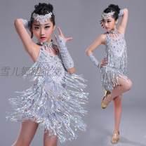 Latin Dance Costume Aishang female S,M,L,XL,XXL,XXXL silvery