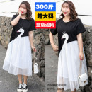 Women's large Summer 2020 Black and white stitching 4XL,5XL,6XL,7XL,8XL Dress Sweet other 25-29 years old