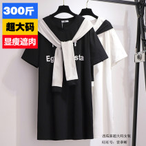 Women's large Summer 2020, spring 2020 Black, white 2XL,3XL,4XL,5XL,6XL Dress other easy Short sleeve Words / numbers Crew neck printing and dyeing 25-29 years old Three dimensional decoration 6 oz (inclusive) - 8 oz (inclusive)