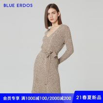 Wool knitwear Spring 2021 155/76A/XS 160/80A/S 165/84A/M 170/88A/L 175/92A/XL Ochre grey Long sleeves singleton  Cardigan cotton 81% (inclusive) - 90% (inclusive) Regular Thin money commute Self cultivation V-neck raglan sleeve Simplicity B215D1016 25-29 years old blue erdos Bandage
