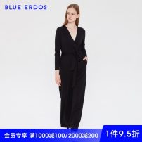 Jumpsuit / pants 51% (inclusive) - 70% (inclusive) trousers Cotton blended fabric middle-waisted black 155/76A/XS 160/80A/S 165/84A/M 170/88A/L routine blue erdos Same model in shopping mall (sold online and offline)