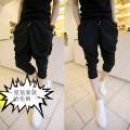 Casual pants Gentry and nobility Youth fashion 806 black 805 white M L XL XXL 3XL 4XL thin Cropped Trousers Other leisure Self cultivation Micro bomb summer youth Hip hop 2017 Medium low back Little feet Polyethylene terephthalate (polyester) 97% others 3% Haren pants fold Solid color Roman cloth