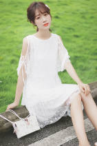 Dress Summer of 2019 White 868 white 940 light apricot 977 white 1030 light apricot 992 light apricot 1070 white 887 dark pink 944 dark pink S M L Middle-skirt singleton  elbow sleeve commute Crew neck High waist Solid color zipper A-line skirt Bat sleeve 18-24 years old Type H Pachachi More than 95%