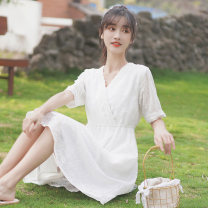 Dress Summer 2020 white S M L Middle-skirt singleton  Short sleeve commute V-neck Elastic waist Solid color Socket A-line skirt routine 18-24 years old Type A Pachachi Korean version Pleating, embroidery, crochet, hollow stitching, jacquard mesh lace 1065-2 More than 95% other Other 100%