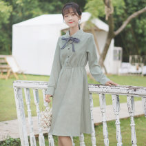 Dress Autumn 2020 Picture color S M L Mid length dress singleton  Long sleeves commute Polo collar Elastic waist Solid color Socket Ruffle Skirt routine 18-24 years old Type A Pachachi Korean version Bowknot, flounce, lace up, stitching, thread strap button More than 95% other Other 100%