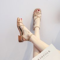 Sandals 35,36,37,38,39,40 Khaki, apricot Superfine fiber Other / other Barefoot Thick heel Low heel (1-3cm) Summer 2020 Flat buckle Simplicity Solid color Adhesive shoes TPR (tendon) daily Back space Thick heel, thin strap combination, buckle, Roman style Low Gang Lateral space PU Microfiber skin