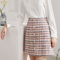 skirt Spring 2021 S,M,L,XL pink Short skirt grace Natural waist skirt Type A 25-29 years old 10101AF091001 thinking of an old acquaintance on seeing a familiar scene zipper