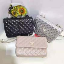 Bag The single shoulder bag Sheepskin diamond pattern chain bag GUESS Black, pink, silver brand new European and American fashion Small leisure time soft no Solid color Single root One shoulder cross carry Yes youth Horizontal square Rhombic grid inside pocket with a zipper