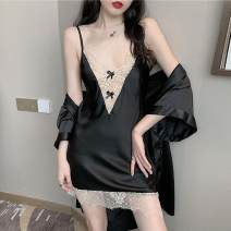 Pajamas / housewear set female Other / other Average size Black suspender, black Nightgown, red suspender, red nightgown other Long sleeves sexy Leisure home summer routine V-neck youth 2 pieces 21% (inclusive) - 40% (inclusive) bow Short skirt