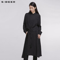 Dress Spring 2020 Black / 91 S/160 M/165 L/170 XL/175 longuette singleton  Long sleeves square neck middle-waisted Single breasted A-line skirt routine 25-29 years old Type A s.deer More than 95% other Regenerated cellulose fiber 100% Same model in shopping mall (sold online and offline)