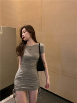 Dress Summer 2021 Gray, black Average size Miniskirt singleton  Long sleeves commute V-neck High waist Solid color Socket One pace skirt routine camisole 18-24 years old Type H 51% (inclusive) - 70% (inclusive) other other