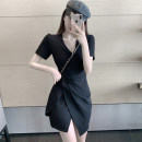 Dress Summer 2020 Khaki, black S, M Middle-skirt singleton  Short sleeve commute V-neck High waist Solid color Socket Irregular skirt routine Others 18-24 years old Type A Other / other Korean version WN003685 More than 95% Chiffon