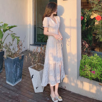 Dress Summer 2020 White, black S,M,L longuette singleton  Short sleeve commute V-neck High waist Solid color Socket routine Others 18-24 years old Type A Other / other Korean version More than 95%