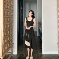 Dress Spring of 2019 black S,M,L Mid length dress singleton  Sleeveless One word collar High waist routine camisole 18-24 years old Type A cotton