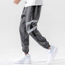 Casual pants Others Youth fashion M,L,XL,2XL,3XL,4XL routine Ninth pants Other leisure Self cultivation Micro bomb autumn teenagers tide 2020 middle-waisted Overalls Pocket decoration No iron treatment stripe other other