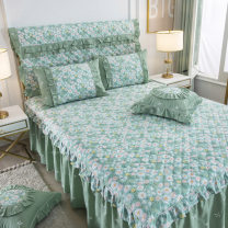 Bedding Set / four piece set / multi piece set cotton Quilting Plants and flowers 128x70 Other / other cotton 4 pieces 40 Bed skirt First Grade Princess style 100% cotton twill Reactive Print  Thermal storage