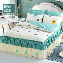 Bedding Set / four piece set / multi piece set Polyester (polyester fiber) other Plants and flowers 128x70 Other / other Polyester (polyester fiber) 4 pieces 40 1.5m (5 ft) bed, 1.8m (6 ft) bed, 2.0m (6.6 ft) bed Bed sheet, bed skirt Qualified products Princess style twill Reactive Print  other