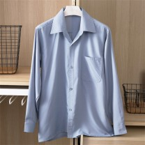 shirt Fashion City Yagechomen / accord Jomon 165/39 170/40 175/41 180/42 185/43 190/44 195/45 Thin money square neck Long sleeves easy daily old age Polyester 100% 2020 Solid color Summer 2020