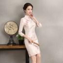 cheongsam Autumn of 2019 S,M,L,XL,2XL,3XL three quarter sleeve Short cheongsam lady Low slit daily Oblique lapel Decor Embroidery Brocade 96% and above