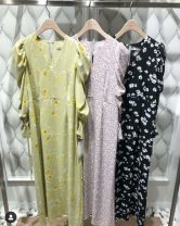 Dress Spring 2021 Yellow, purple, black S, M Middle-skirt singleton  Long sleeves Sweet High waist Decor Other / other
