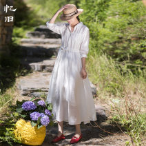 Dress Summer 2020 Tea white S M L longuette singleton  Nine point sleeve commute other Loose waist Solid color Big swing routine Others 30-34 years old Type A Reminiscence literature Pleated lacing 30% and below other nylon Polyamide fiber (nylon) 20% others 80%