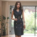 Dress Spring of 2019 black S,M,L,XL Middle-skirt singleton  Sleeveless commute tailored collar High waist Solid color double-breasted Pencil skirt other Others 18-24 years old Type X Other / other Korean version Bandage