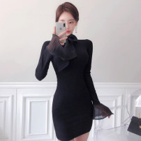 Dress Autumn 2020 black S,M,L,XL Short skirt singleton  Long sleeves commute stand collar High waist Solid color Single breasted A-line skirt routine Others 18-24 years old Type A Korean version Button knitting cotton