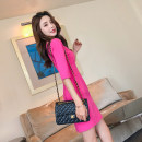 Dress Spring 2020 Rose red, black S,M,L Short skirt singleton  elbow sleeve commute One word collar High waist Solid color zipper One pace skirt routine Others 25-29 years old Type H est  Korean version zipper 18Y82122 More than 95% knitting polyester fiber