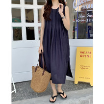 Dress Summer 2021 Navy, apricot grey, orange Average size Mid length dress singleton  Long sleeves commute Crew neck High waist Solid color Socket A-line skirt other Others 25-29 years old Type A Korean version F20210361 51% (inclusive) - 70% (inclusive) other hemp