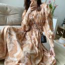 Dress Summer 2021 Decor, decor yellow S,M,L singleton  Long sleeves V-neck Elastic waist Decor Big swing 25-29 years old