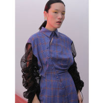 Dress Autumn of 2019 violet S,M,L longuette singleton  Long sleeves street middle-waisted lattice Single breasted Irregular skirt puff sleeve 18-24 years old Type X JNYLONSTUDIOS More than 95% polyester fiber Europe and America