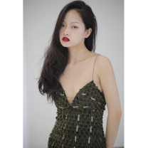 Dress Spring 2020 Army green S,M,L Short skirt singleton  Sleeveless street middle-waisted A-line skirt camisole 18-24 years old Type X JNYLONSTUDIOS Bright silk Q265 More than 95% polyester fiber