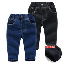 trousers Other / other male Size 90 is suitable for 90cm height, size 100 is suitable for 95cm height, Size 110 is suitable for 105cm height, Size 120 is suitable for 115cm height, and Size 130 is suitable for 125cm height Black simple Plush jeans, denim blue simple Plush jeans winter trousers Jeans