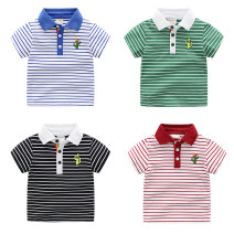 T-shirt They are black and white, green and white, color blue and white, and red and white Other / other 90 for 95cm, 100 for 105cm, 110 for 115cm, 120 for 125cm, 130 for 130cm male summer Short sleeve Lapel and pointed collar leisure time No model nothing cotton stripe Other 100% tx1967 Class B