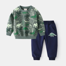 suit wellkids Army green 90cm,100cm,110cm,120cm,130cm male spring and autumn leisure time Long sleeve + pants 2 pieces routine No model Socket nothing Cartoon animation cotton children Giving presents at school tz0499 Other 100% 3, 4, 5, 6, 7
