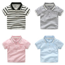 T-shirt Black and white stripe white gray light blue pink Other / other 90 suggested height 90cm 100 suggested height 100cm 110 suggested height 105cm 120 suggested height 115cm 130 suggested height 125cm male summer Short sleeve Lapel and pointed collar leisure time No model nothing cotton other