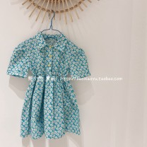 Dress Blue, chocolate female Other / other 80cm,90cm,100cm,110cm,120cm Cotton 100% summer Korean version Short sleeve Broken flowers cotton A-line skirt Class B Three years old, six years old, 18 months old, two years old, five years old, four years old Chinese Mainland