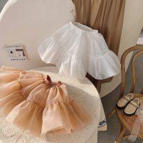 skirt 90cm,100cm,110cm,120cm,130cm,140cm White (New Year's later), tangerine (New Year's later) Other / other female Other 100% spring and autumn skirt Korean version Solid color A-line skirt cotton